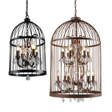 Antique Vintage Restaurant decorative rust candle wrought iron birdcage chandelier hanging lamp industrial cage pendant light
