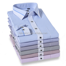 mens shirts slim fit contrast color collar and cuff dress shirts vertical striped men's shirt