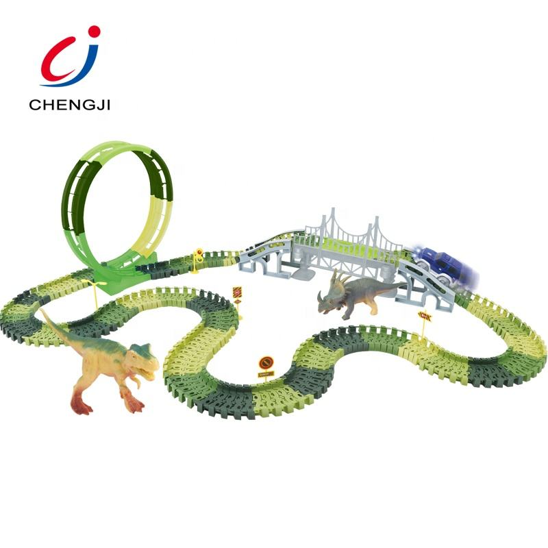 Most popular 221pcs diy puzzle plastic rail car dinosaur track set children's dinosaur toy
