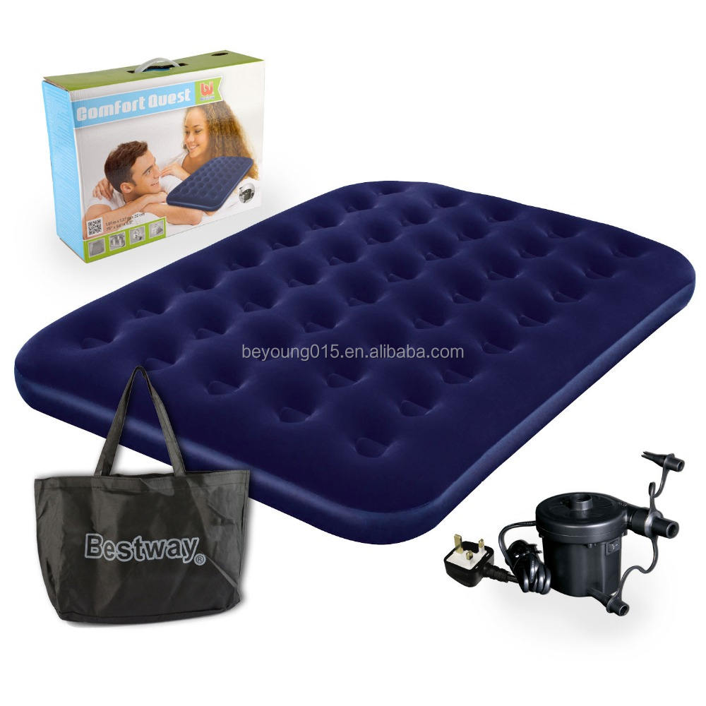 Bestway Flocked Double Airbed Inflatable Air Bed Mattress Electric Pump and Bag