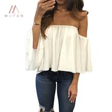 Summer Top Selling Women Off Shoulder Strapless Bell Sleeve Casual Blouse Shirt Tops