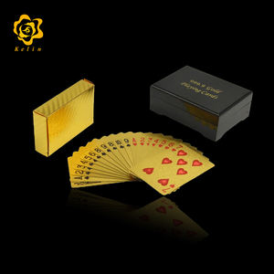 Normal Blank Design 24k gold foil playing card with Luxury wooden box Business gifts