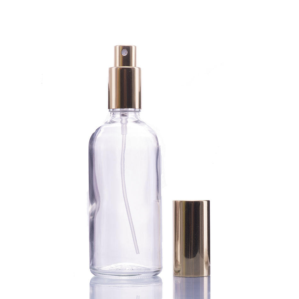 Clear Glass Spray Perfume Eempty Bottle with Gold Atomizer