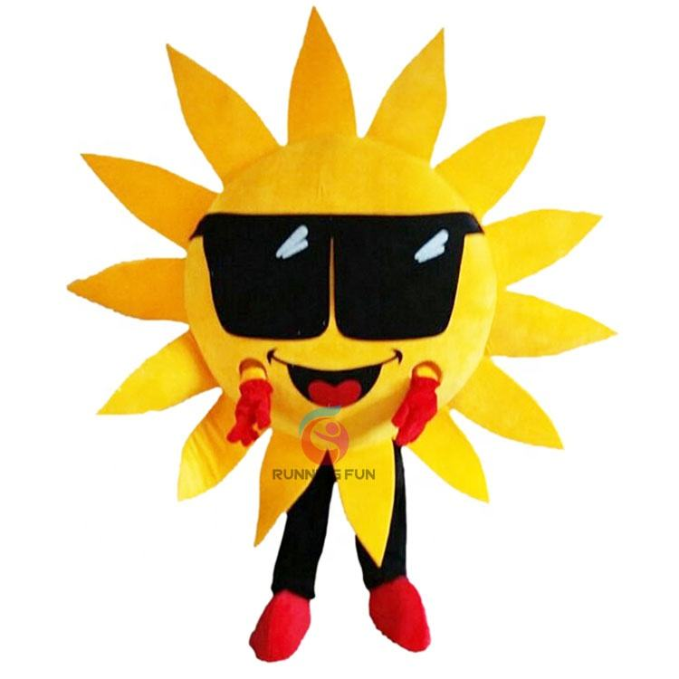 Adult size glasses sunflower cartoon sun cosplay mascot costume with best price