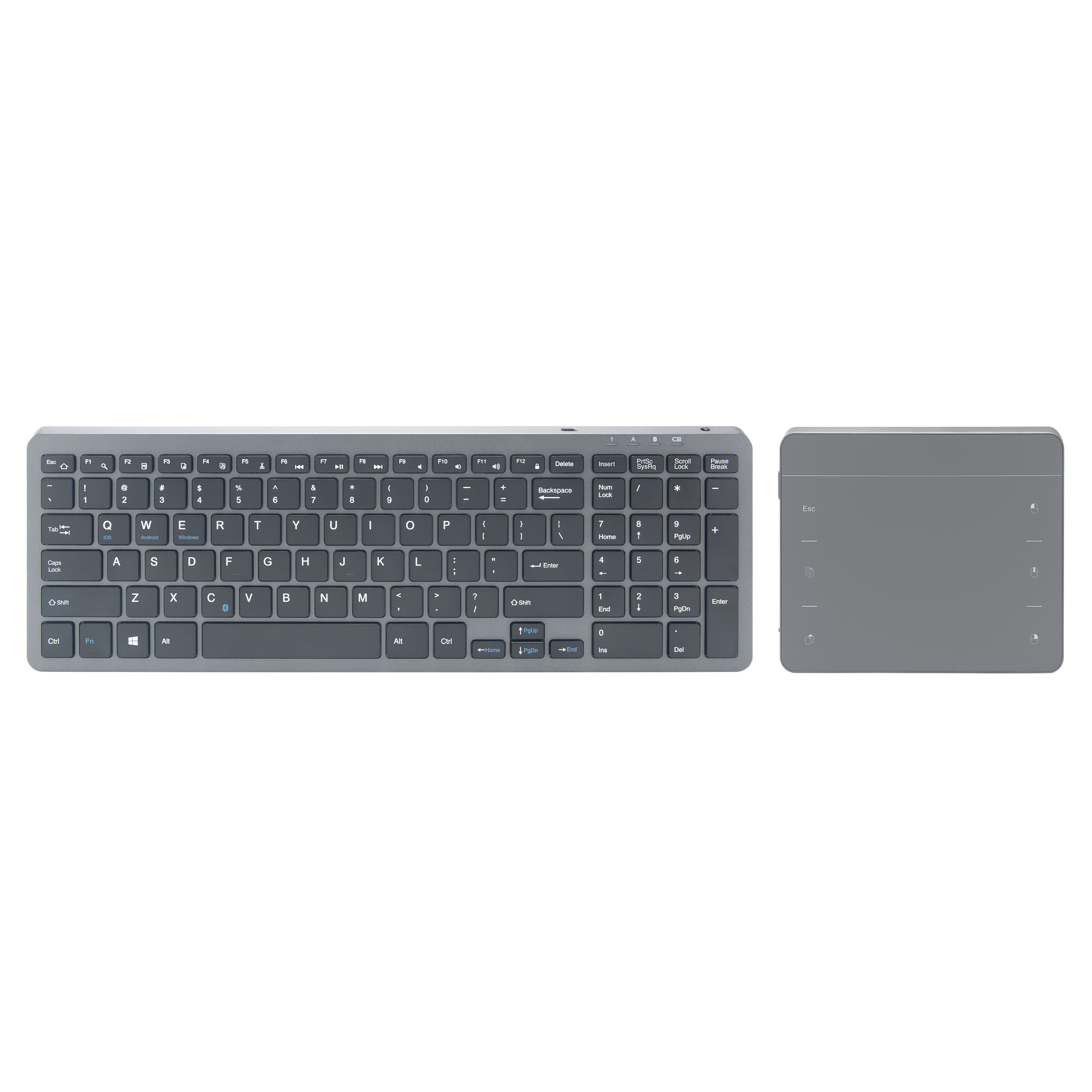 Multi devices wireless keyboard with separate mouse touch pad for key board