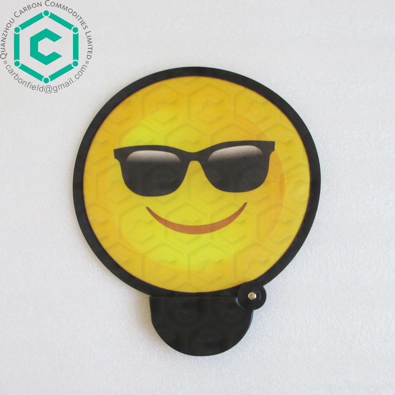 Black glass nice smile full printing foldable black D shape hand fan