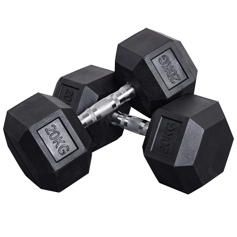 Fitness 50 KG Gummi Hex Hantel Set
