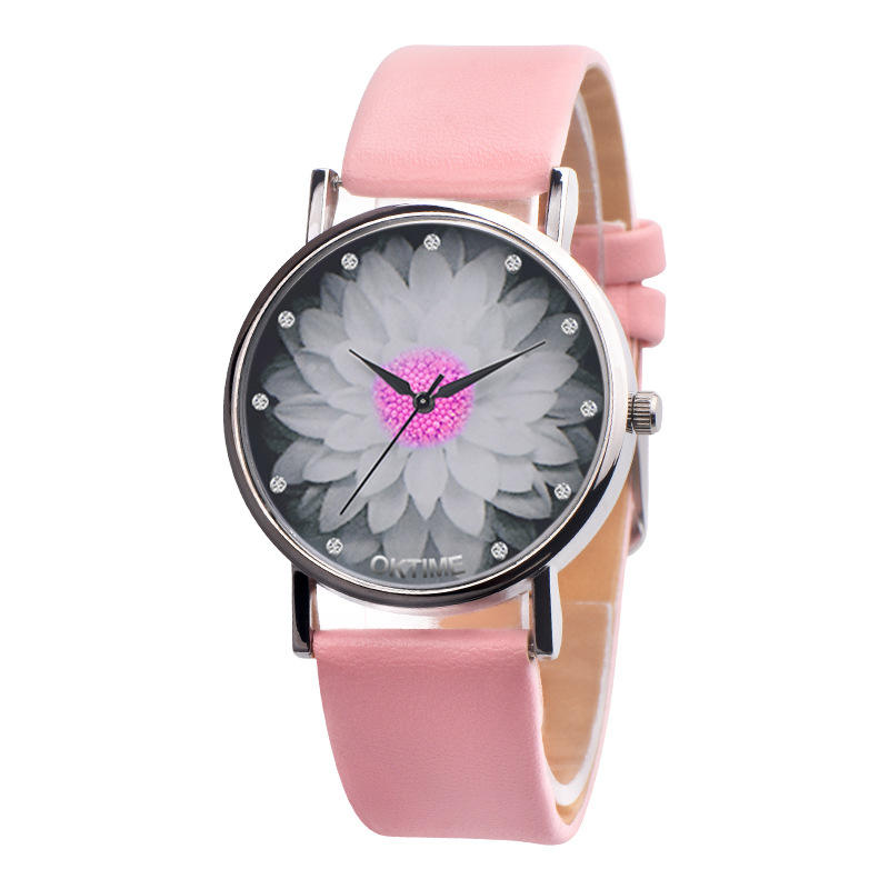 Hot Sale Brand Simple Trend Women Watches Elegant Lotus Print Rhinestone Watch Leather Strap Ladies Quartz Wristwatches Clock