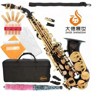 Accept OEM Dasheng Music DSSC-711BG Black Body And Gold Keys Chinese Curved Saxophone Soprano
