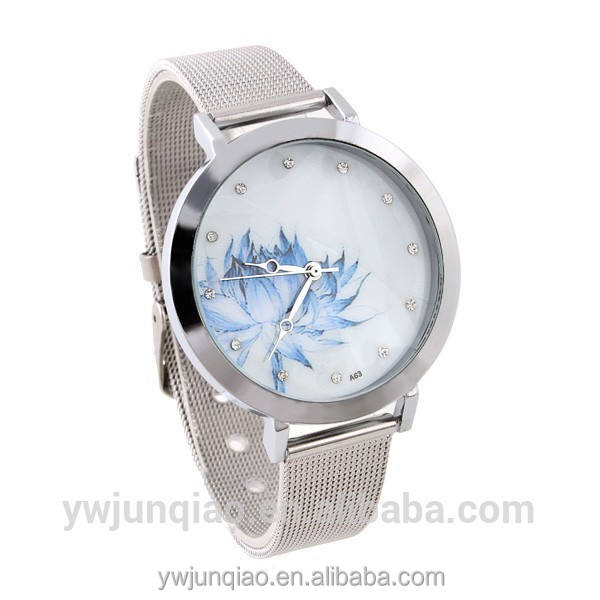 Diamond Shinning Quartz Watch Wrist Watch Big Dial Lotus Flower Watch