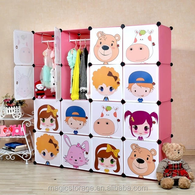 16 cubes DIY moveable cartoon baby plastic wardrobe
