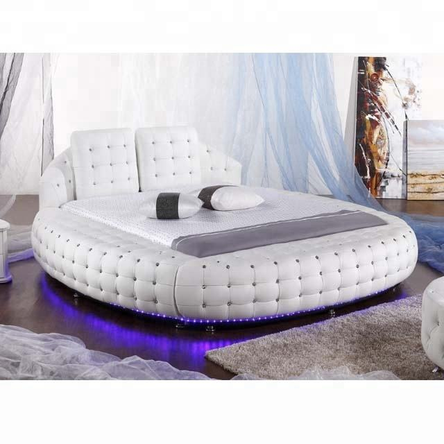 Modern Furniture Latest White Leather Double round Bed