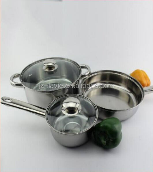 Hot Selling 6pcs Cookware Set Soup Pot Fry Pans Stainless Steel Metal Eco-friendly Stocked
