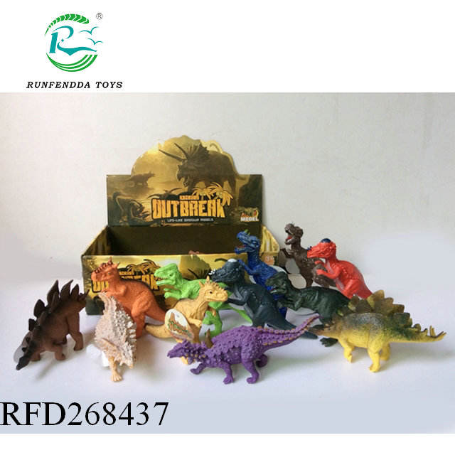 "7"" Dinosaurs Pack of 12 Large Plastic Assorted Dinosaur Figures"