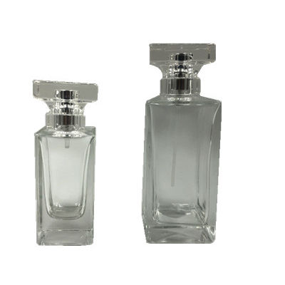 High quality cosmetic packing 50ml 100ml transparent empty glass perfume bottles with aluminum spray cap acrylic lid