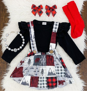 Bulk wholesale buffalo plaid christmas outfit adorable toddler wholesale girls clothes moose skirt clothing outfit for winter