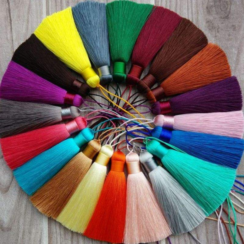free sample 1000 colors 8cm large silk tassels for jewelry, 100% rayon fringe tassel silk 1.2cm diameter for decoration