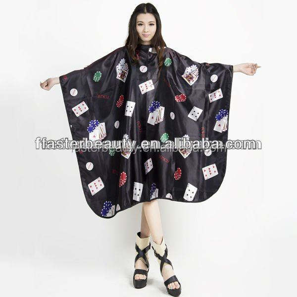 new designed Poker Pattern Waterproof Salon Cape Gown Hair Hairdressing Cut Coloring