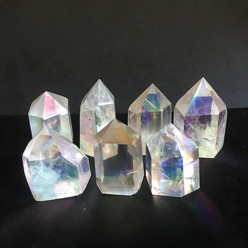 Customized electroplating quartz tower Angel aura natural clear quartz crystal point