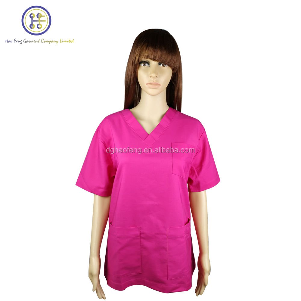 OEM Fashion Custom Design 90% Polyester 10% Spandex V-hals Kliniek Uniform met Custom Logo
