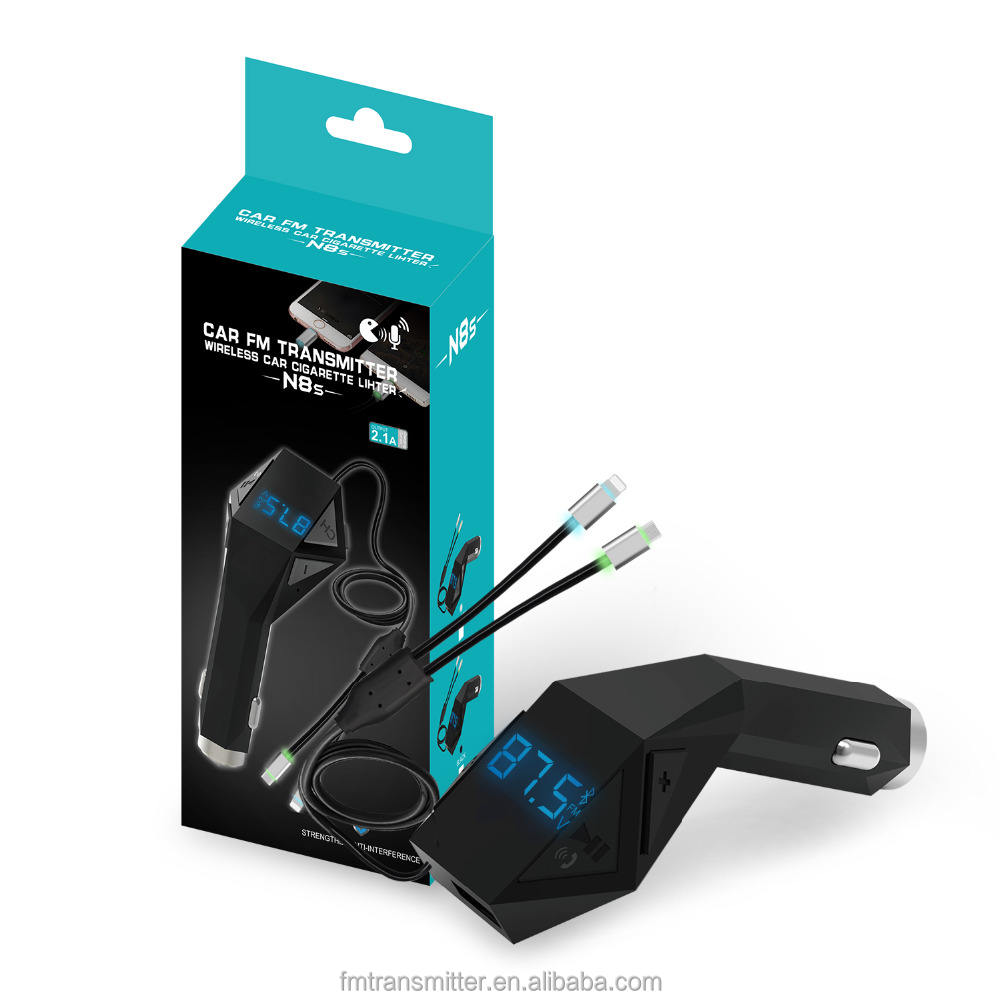 Trasmettitore FM per Auto Adattatore Wireless In-car Charger Kit w/TF Card Slot Luci Colorate di Ricarica