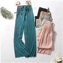 2020 fashion summer and autumn women candy color pants women pleated wide leg pants lady  colored chiffon pants