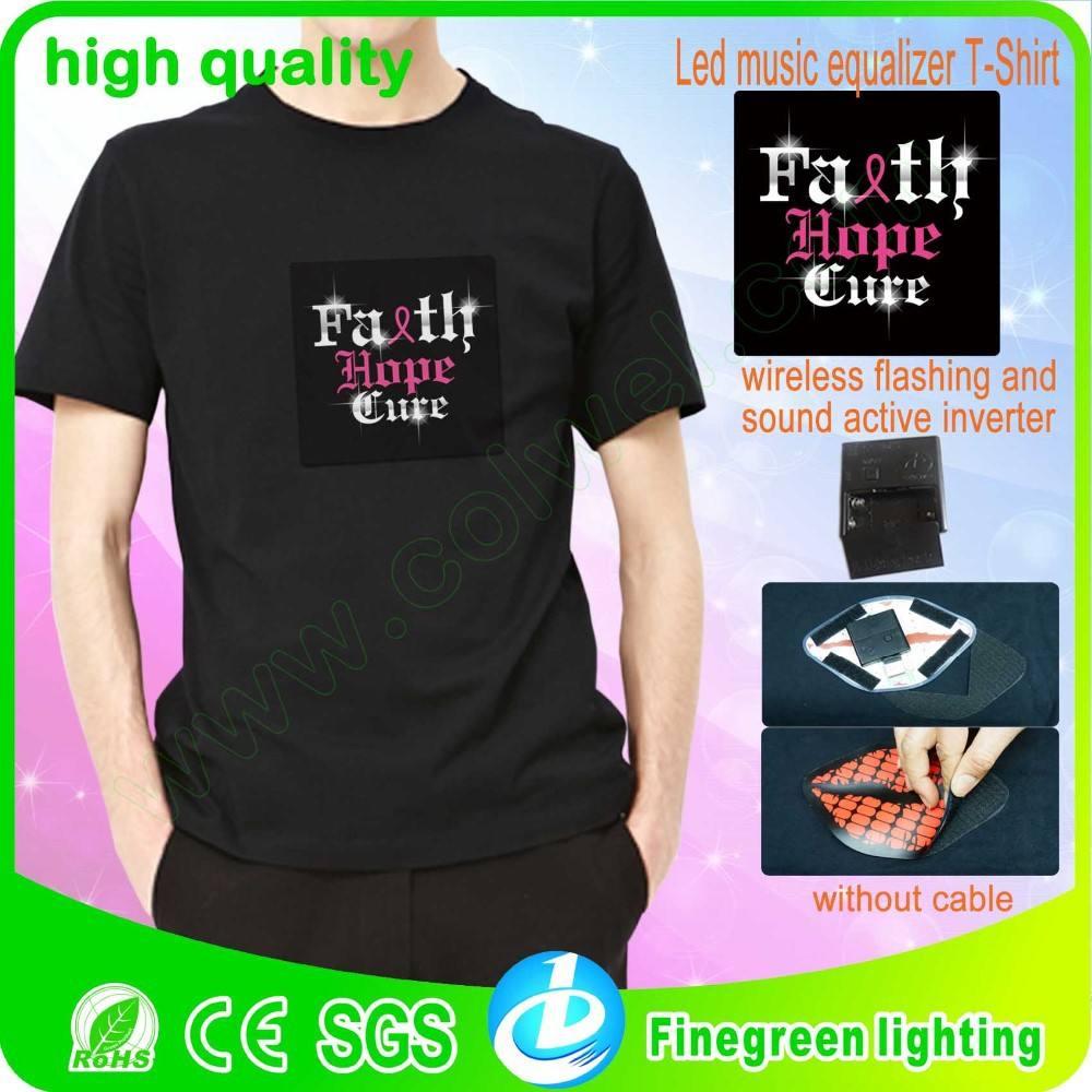 Led t- shirt, led de sonido activa t- shirt/led ecualizador t- shirt/led t- shirt