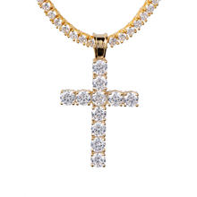 14K Gold Small Iced Out Tennis Cross