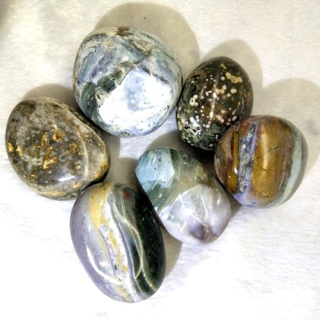 Natural Ocean Jasper Polished Crystal Stones Ocean Jade Raw Stone Hand Palm For Sale