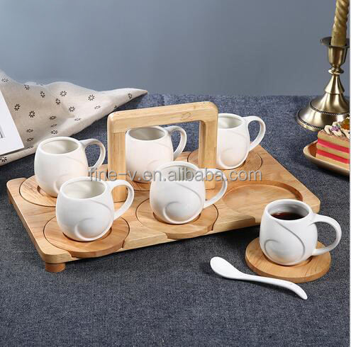 Porcelain Coffee Cup&Saucers Set with Bamboo Holder