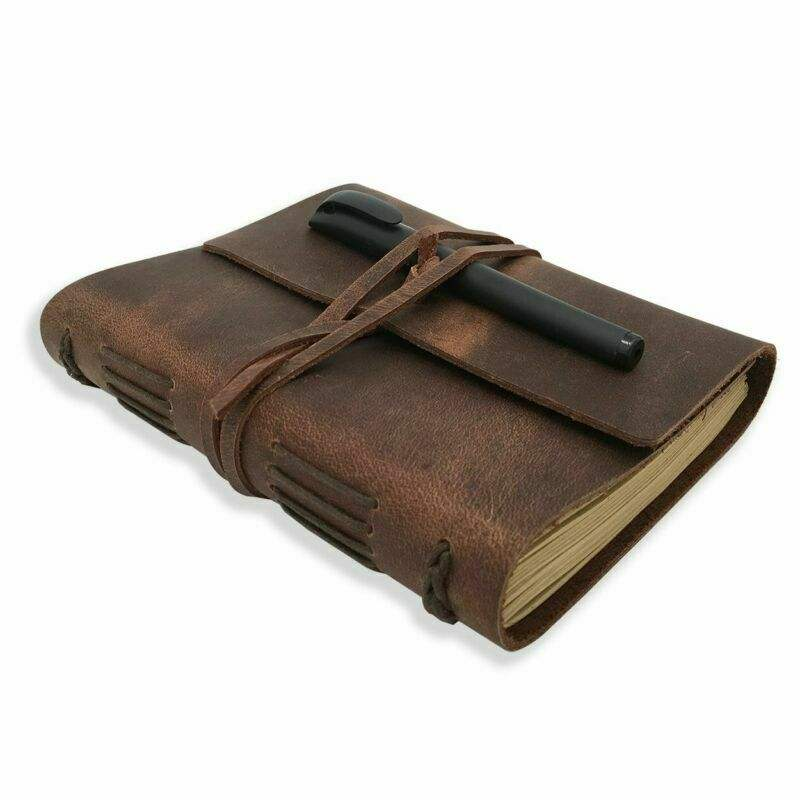 Leather Notebook Journal Refillable Travel Journal Hand-Crafted Genuine Leather - Perfect Gift for Writing, Poets, Travelers