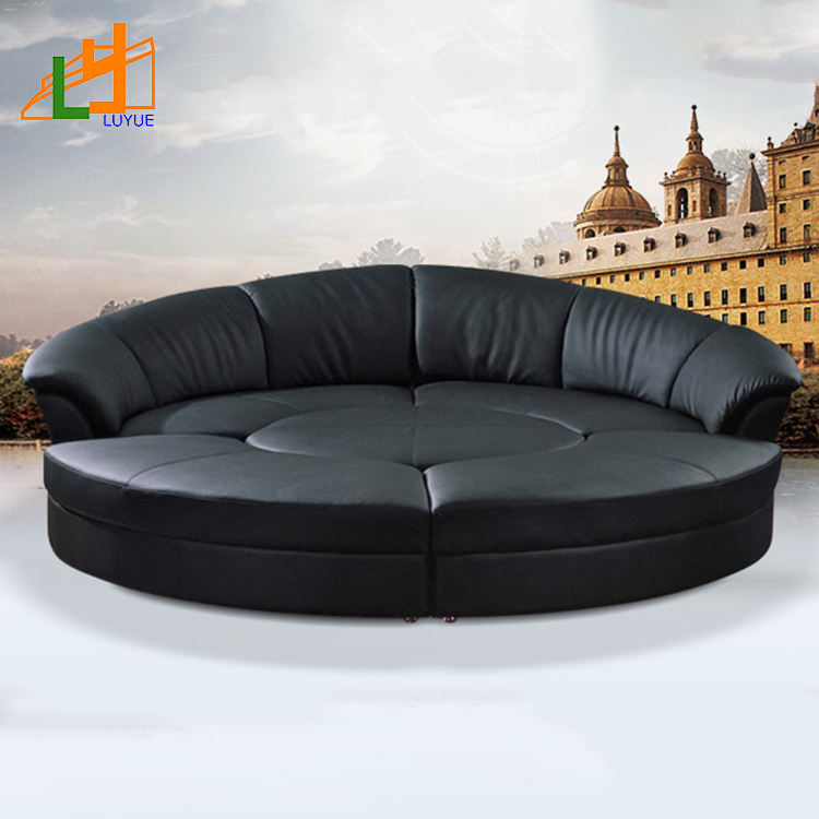 High-End Design New Style Living Room Furniture Couch Luxury Leather Sectional Round Sofa