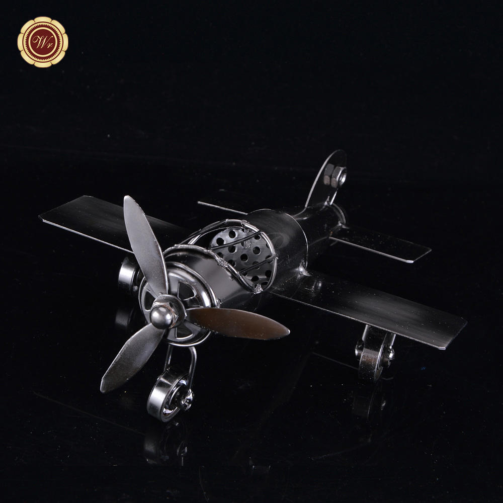 Wr Collectible Arts Vintage Metal Airplane Toy Crafts Mini Antique Aircraft Diecast Model Kids Gifts 18*18*10cm