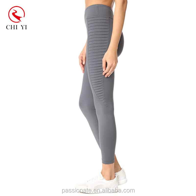 2019 new wave stair yoga pants custom leggings shutter pleats side stretch fabric fitness tights for girls and women