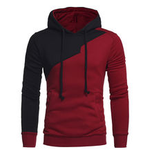 Autumn trendy asymmetric red black mixed plain pullover cut and sew hoodie
