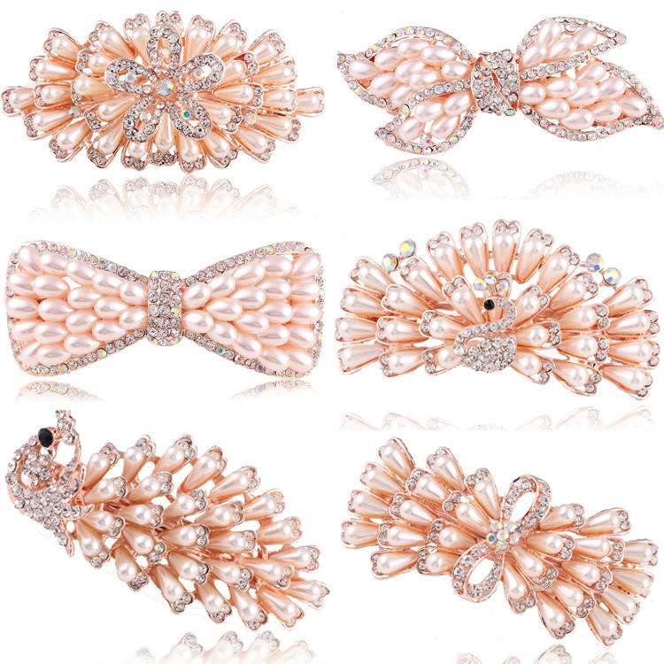 Golden Rhinestone Pearl Hairclip Butterfly Crystal Hairpin Butterfly Knot Peacock Hairpin Phoenix Flower Hair Clip