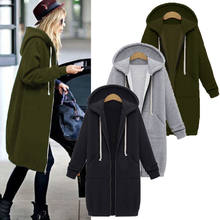 Autumn Winter Jacket Women Coat Ladies Retro Zipper Up Spring Hooded Long Outwear Tops chaqueta mujer Plus Size S-5XL Coat