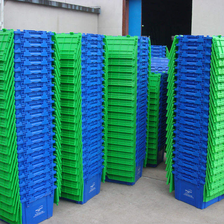 Heavy duty large moving plastic crate with foldable lids