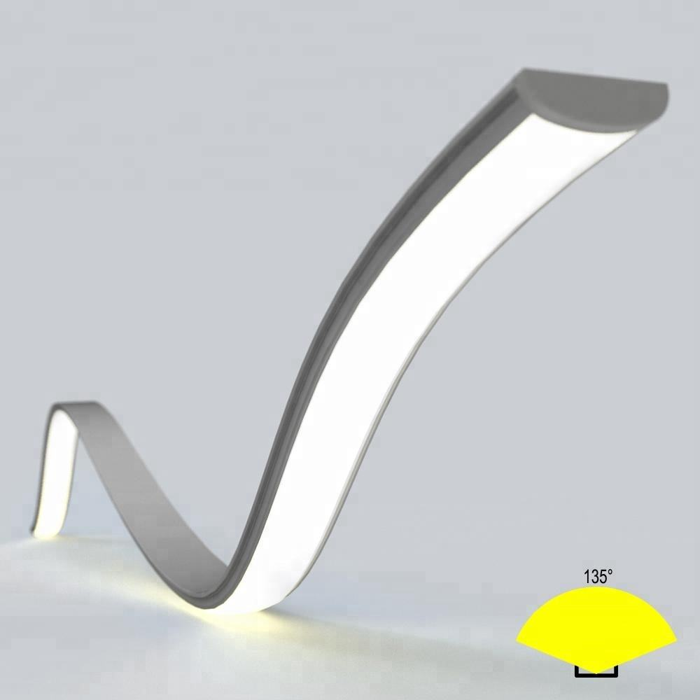 Flexible Bendable Aluminium Led Profile Extrusion,Surface Mounted Led Strip Profile With Frosted Cover Lens