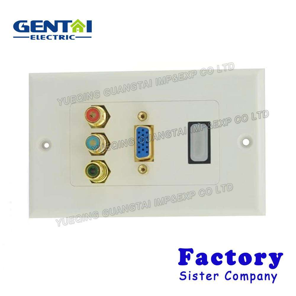 High Quantity 3 Ports RCA HDMI VGA Wall Panel Face Plate