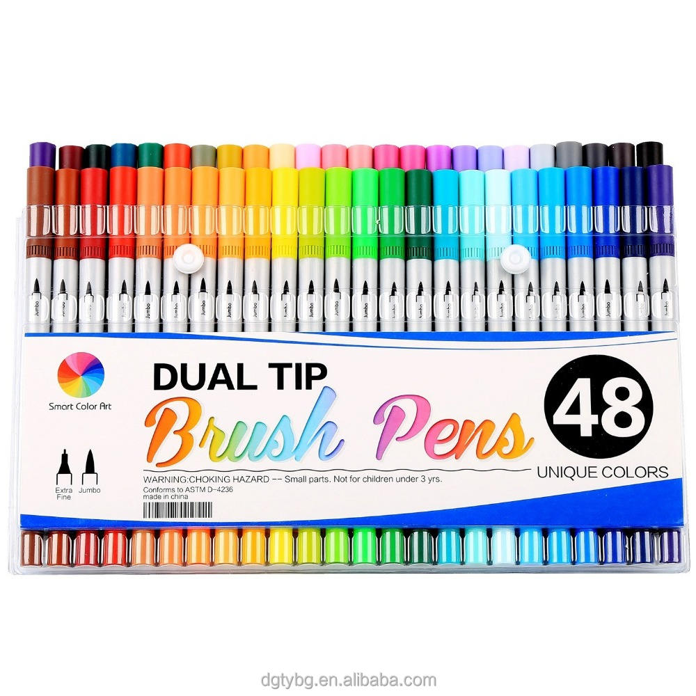 100 colors Dual Tip Brush Pens with Fineliners Art Markers, Feela Watercolor Dual Brush Tip and Highlighters For Adult Coloring