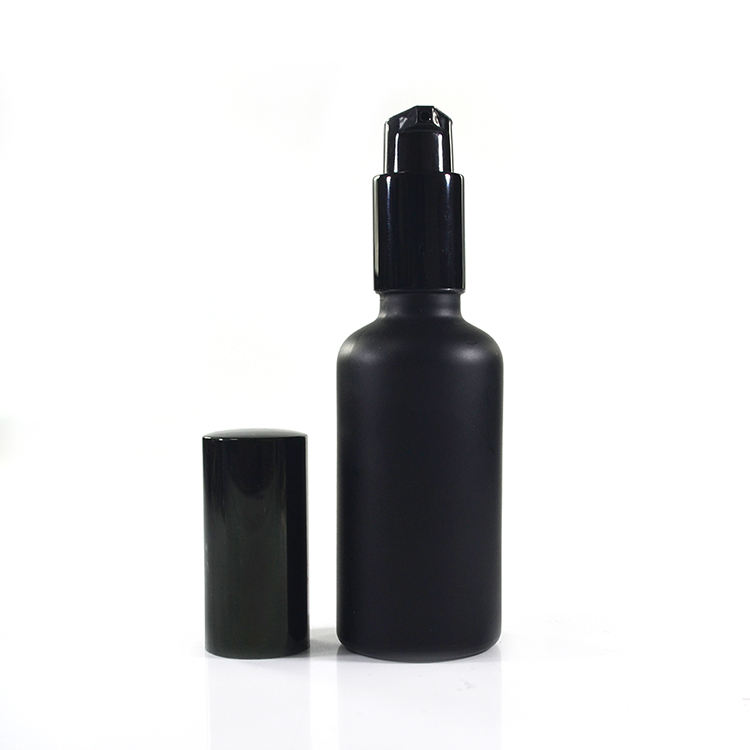 5ml 10ml 15ml 20ml 30ml 50ml 100ml matte black glass bottle with treatment pump lotion for essential oils aromatherapy