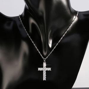 RINNTIN ON100 Hot Sale jewelry Wholesale Zirconia Brass Cross Necklace,Jesus Christ Cross Charm Pendant