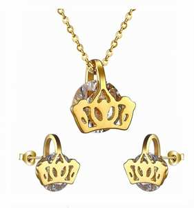 Trendy Jewelry Stainless Steel necklace crown shaped Charming necklace