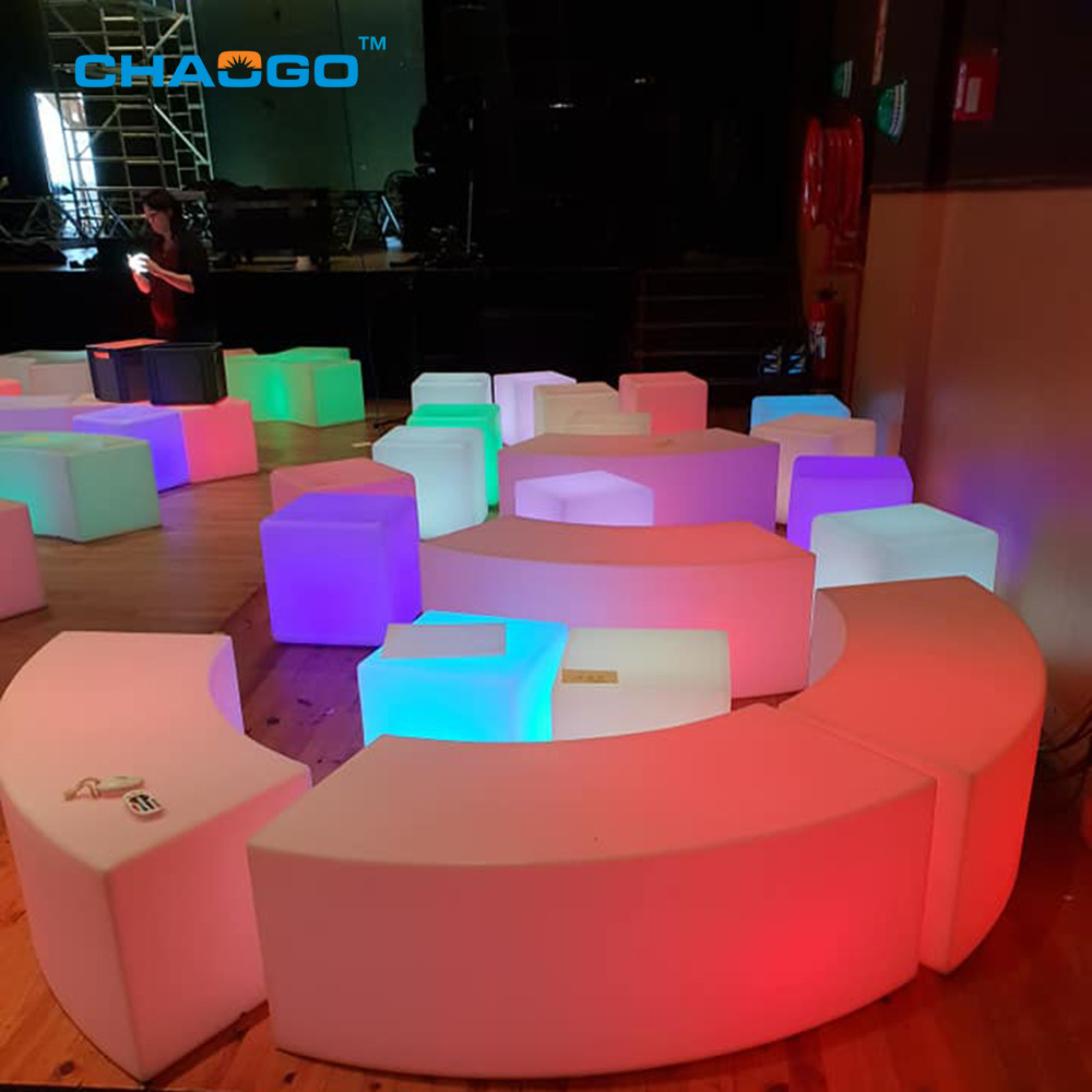 factory price RGB colors changing light up led furniture party event plastic funny curved led stool bench with CE RoHs