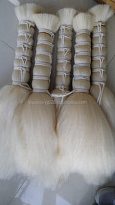 100% yak hair  60mm washed and straightening steatment white color and back color