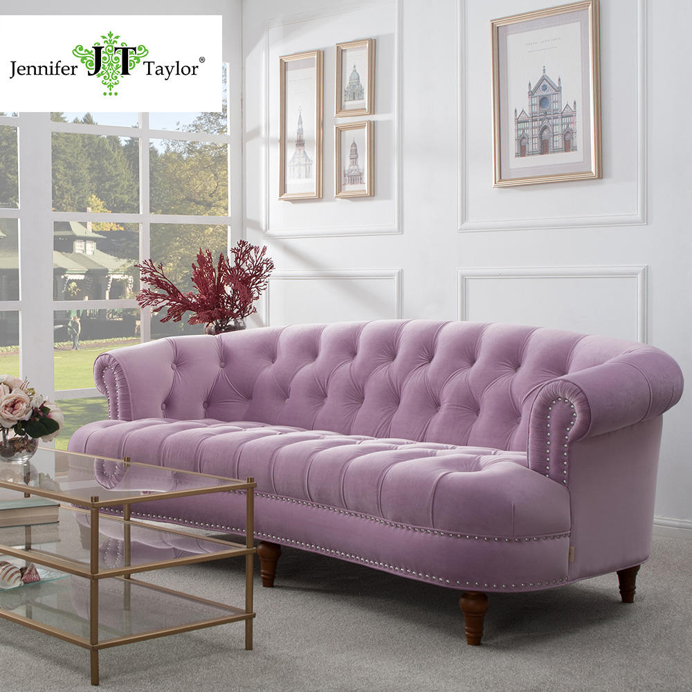 Modern design home furniture pink velvet upholstery 3 seater sofa, living room furniture lounge suite big sofa couch