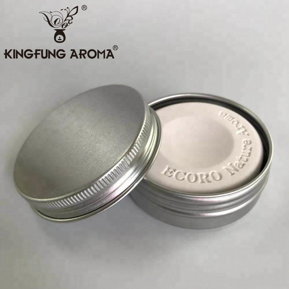 Factory Japan Customized Logo Round Ceramic Aroma Stone Scent Stone for Home Decorative Air Freshener with tin box