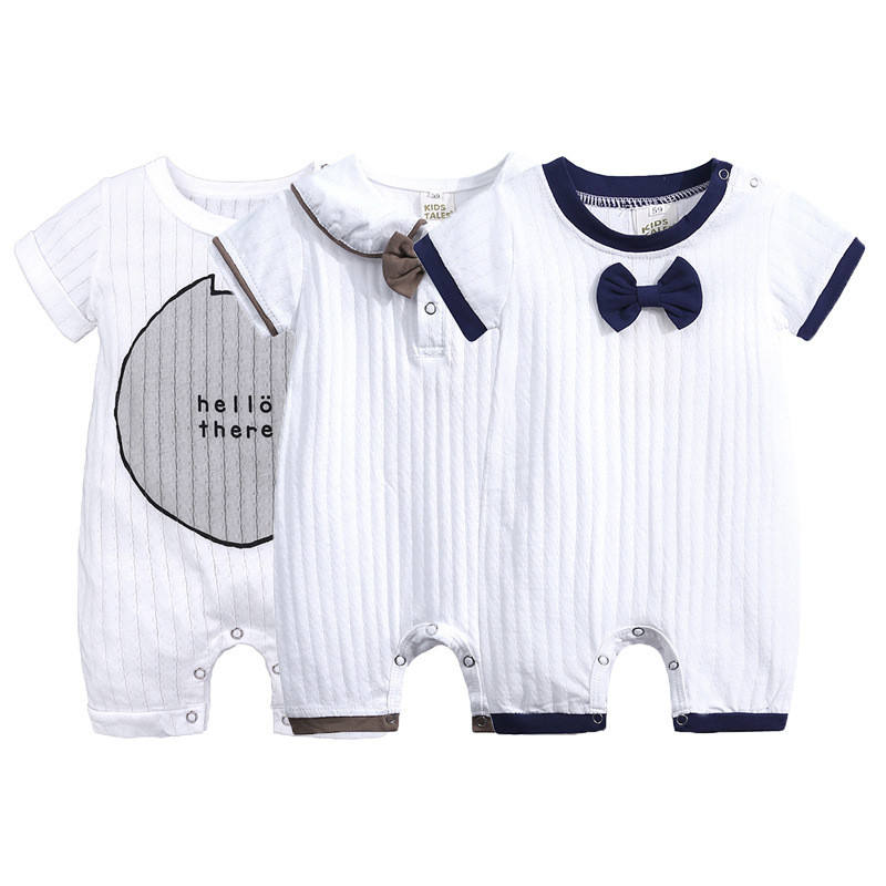 Hot Sale Baby Boy Clothes Soft Cotton Collar Kids Baby Romper with Bow