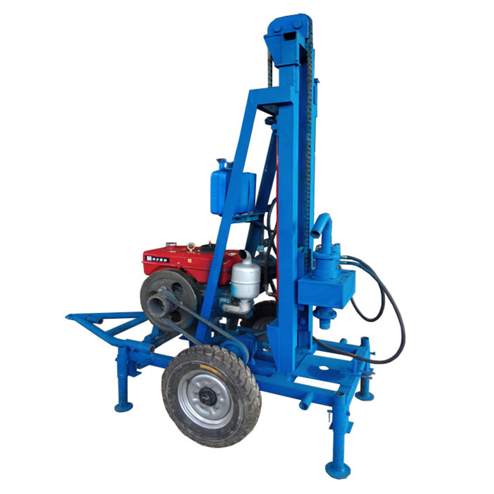 150m deep factory price portable diesel hydraulic water well drilling and rig machine